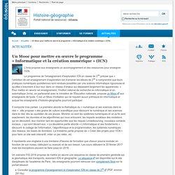 Un Mooc pour mettre en œuvre le programme «Informatique et la création numérique » (ICN)-Histoire-géographie-Éduscol