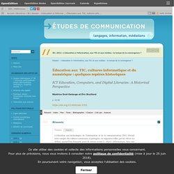 Éducation aux TIC, cultures informatique et du numérique: quelques repères historiques