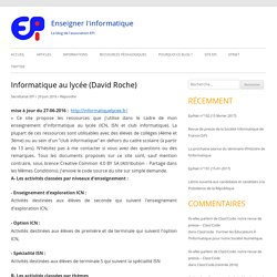 Informatique au lycée (David Roche) – Enseigner l'informatique
