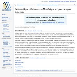 Informatique et Sciences du Numérique au lycée : un pas plus loin
