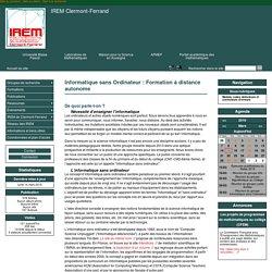 Mars 2016 Informatique sans Ordinateur : Formation à distance autonome - IREM Clermont-Ferrand
