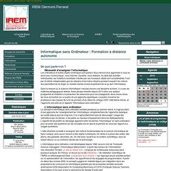 Informatique sans Ordinateur : Formation à distance autonome - IREM Clermont-Ferrand