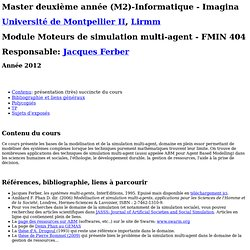 M2 Informatique - ABM -outils de simulation multi-agents