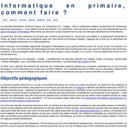 Informatique en primaire, comment faire ?