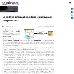 Le codage informatique dans les nouveaux programmes » Délégation Académique du Numérique Éducatif