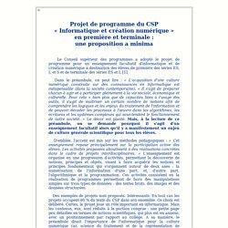 Éditorial - Projet de programme du CSP «Informatique et création numérique» en première et terminale: une proposition a minima