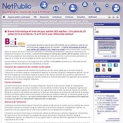 Brevet informatique et internet pour adultes (B2i adultes) : Circulaire du 20 juillet 2012 et Arrêté du 13 avril 2012 avec référentiel national