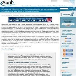 Réponse du Ministère de l'Éducation nationale sur les questions de l'informatique, des outils et ressources libres…