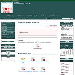 Informatique sans Ordinateur - IREM Clermont-Ferrand