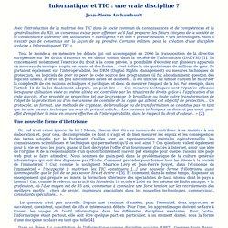 Informatique et TIC: une vraie discipline?