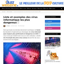 Liste et exemples des virus informatiques les plus dangereux □