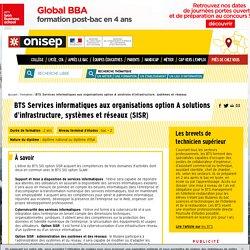 BTS Services informatiques aux organisations option A solutions d'infrastructure, systèmes et réseaux