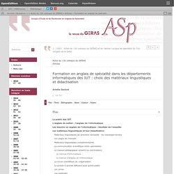 Formation en anglais de spécialité dans les départements informatiques des IUT: choix des matériaux linguistiques et didactisation