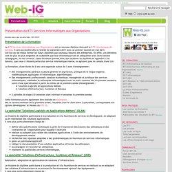 Présentation du BTS Services Informatiques aux Organisations