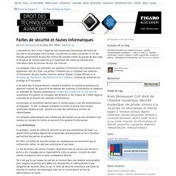 Failles de sécurité et fautes informatiques — Droit des technologies avancées