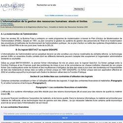 L'informatisation de la gestion des ressources humaines: atouts et limites - Brama BARRO