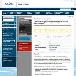 Certificat en gestion informatisée et affaires électroniques