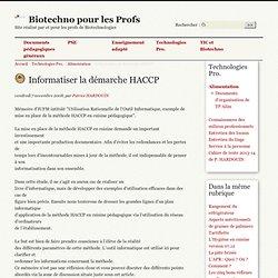 Informatiser la démarche HACCP