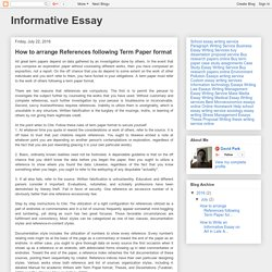 Informative Essay: How to arrange References following Term Paper format