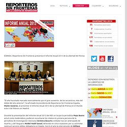 Informe anual 2013 Libertad de prensa en el mundo.