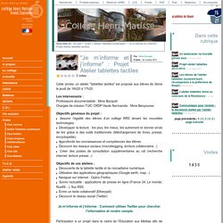 """Je m'informe et j'informe"" : Projet Atelier tablettes tactiles"