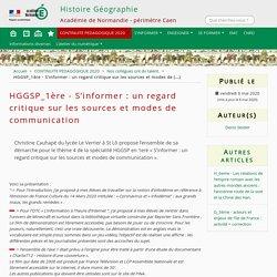 HGGSP_1ère - S'informer : un regard critique sur les sources et modes de communication
