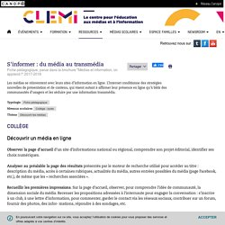 S'informer : du média au transmédia- CLEMI