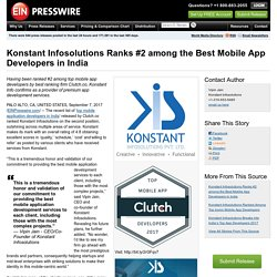Konstant Infosolutions Ranks #2 among the Best Mobile App Developers in India