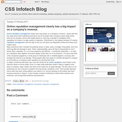 CSS Infotech Blog: Online reputation management clearly has a big impact on a company's revenue.