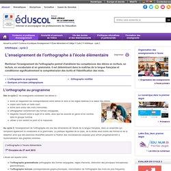 Eduscol : L'orthographe au programme