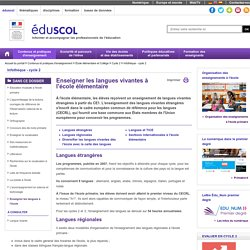 Infothèque - cycle 2 - Enseigner les langues à l'école