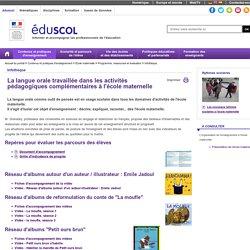 Infothèque - Langue orale et APC à l'école maternelle