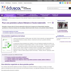 Infothèque - Sélection pour une première culture littéraire à l'école maternelle
