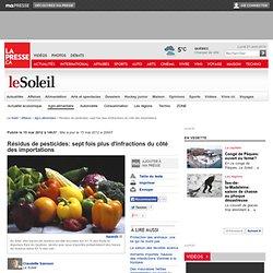 LA PRESSE 15/05/12 Résidus de pesticides: sept fois plus d'infractions du côté des importations