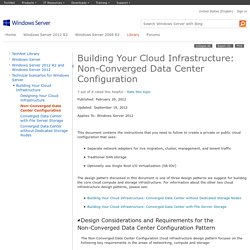 Building Your Cloud Infrastructure: Non-Converged Data Center Configuration