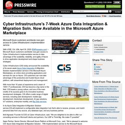 Cyber Infrastructure's 7-Week Azure Data Integration & Migration Soln. Now Available in the Microsoft Azure Marketplace