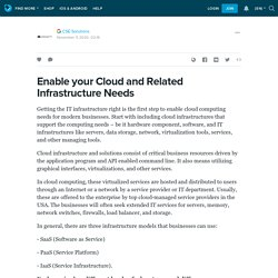 Enable your Cloud and Related Infrastructure Needs