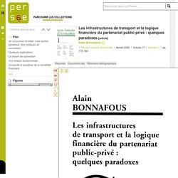 Les infrastructures de transport et la logique financière du partenariat public-privé : quelques paradoxes