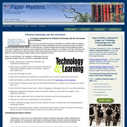 Infusing Technology into the Curriculum Research Paper Outline