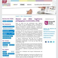 Formation Master pro (M2) Ingénierie pédagogique multimédia (IPM) FOAD
