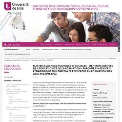 Ingénierie pédagogique multimédia et recherche en formation des adultes (IPM RFA) - Offre de formation - Université de Lille