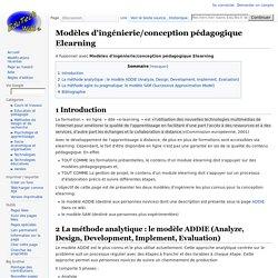 Modèles d'ingénierie/conception pédagogique Elearning