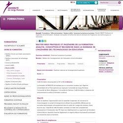 Master MEEF Pratiques et ingénierie de la formation - Analyse, conception et recherche dans le domaine de l'ingénierie des technologies en éducation
