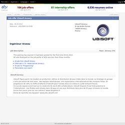 Offre d'emploi Ingénieur réseau - Ubisoft Annecy (janvier 2012)
