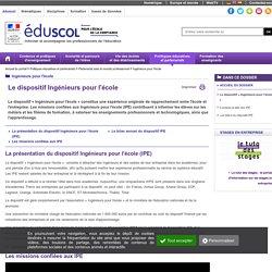 Ingénieurs pour l'école - Le dispositif « Ingénieurs pour l'école »