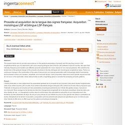 Prosodie et acquisition de la langue des signes francaise: Acquis