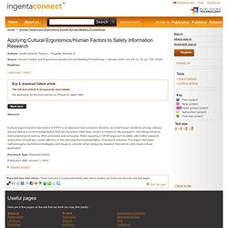Applying Cultural Ergonomics/Human Factors to Safety Information
