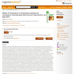 Environmental Entomology, Volume 35, Number 4, August 2006 Effects of Temperature on Anoplophora glabripennis (Coleoptera: Ceram