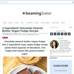 2 Ingredient Chocolate Peanut Butter Vegan Fudge Recipe - Beaming Baker