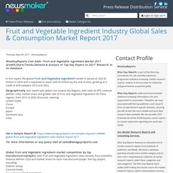 Fruit and Vegetable Ingredient Industry Global Sales & Consumption Market Report 2017